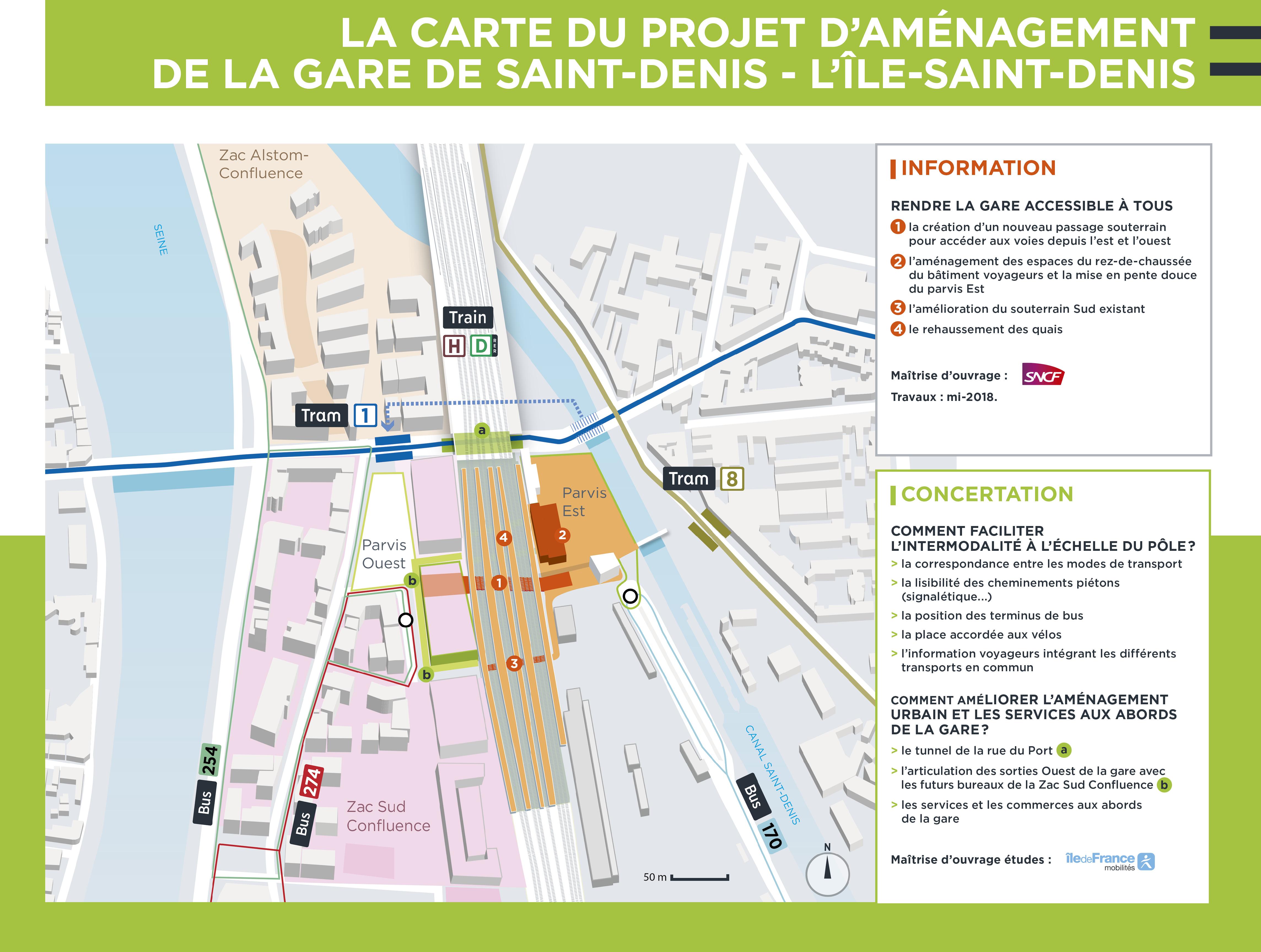 Gare de Saint-Denis - carte du projet