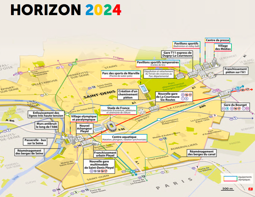 carte des équipements et infrastructures pour Paris 2024